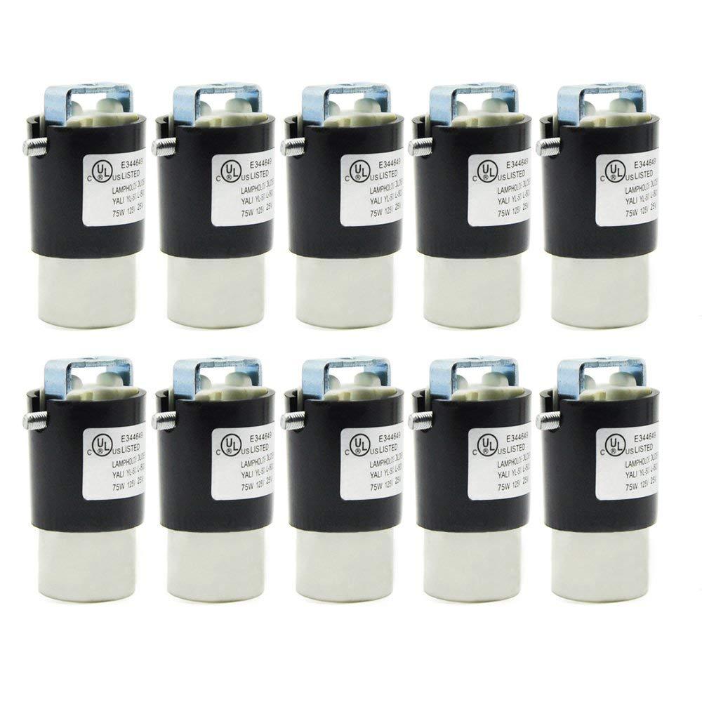 E12 Socket,Ceramic Chandelier Socket E12 Bulb Lamp Holder,Screw Fixing for E12 Incandescent LED Light Bulb (10-Pack)