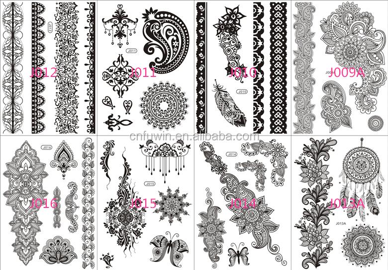 Henna Lace Bracelet Temporary Tattoo Sticker: 2015 New Tattoo Sticker Designs Jewelry Bracelet Black