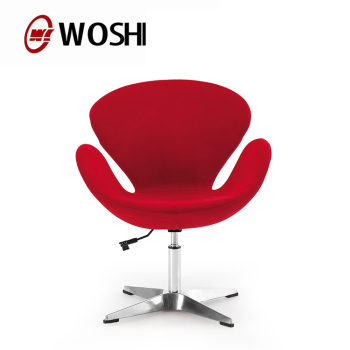 Half Round Office Chair Fabric Swivel Swan In Red No Wheels Reception