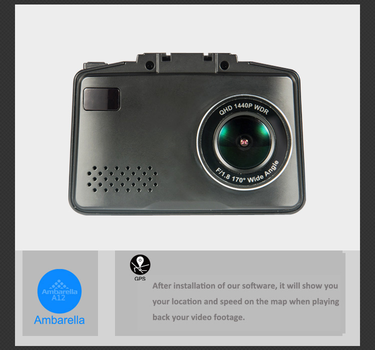 2.4 inch 3 in 1 Car Camera 1296P GPS Tracker Ambarella A12 Car VGR Video GPS Radar Detector