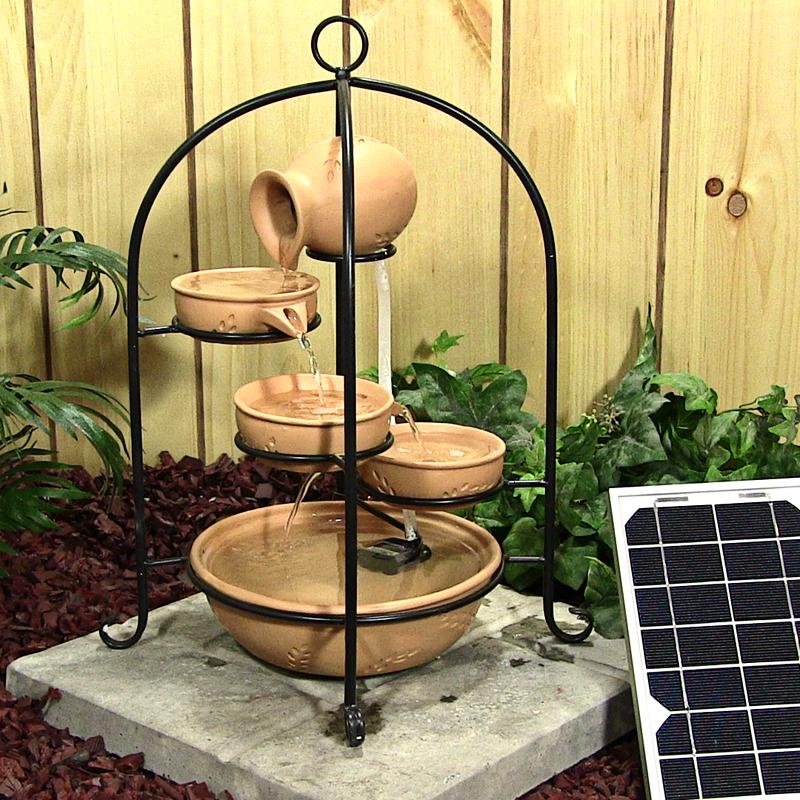 Birdcage fuente resina decoracion jardin solar otros - Fuente solar jardin ...