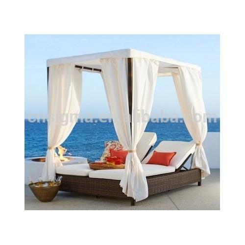 Top Sale Grey Canopy Double Chaise Garden Rattan Wicker ...