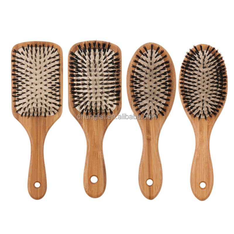 professional wooden personalized hair brush with boar mixed nylon as you wish