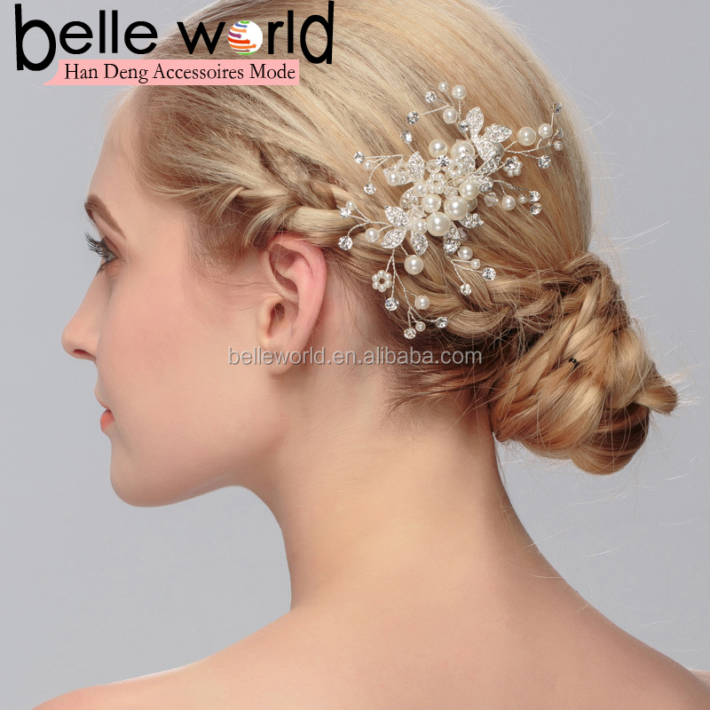 Bride Pearl Floral hair Accessories Hair fork decoration wedding