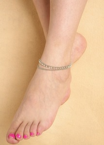 Hot selling summer ladies beach string silver anklet designs