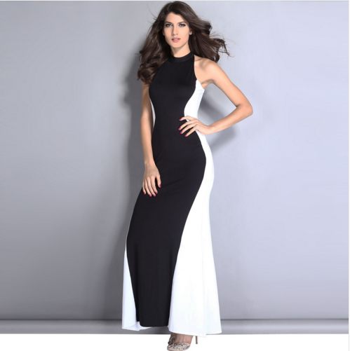 Www Sex Com New Fashion Color Block Maxi Women's Evening Gown ...