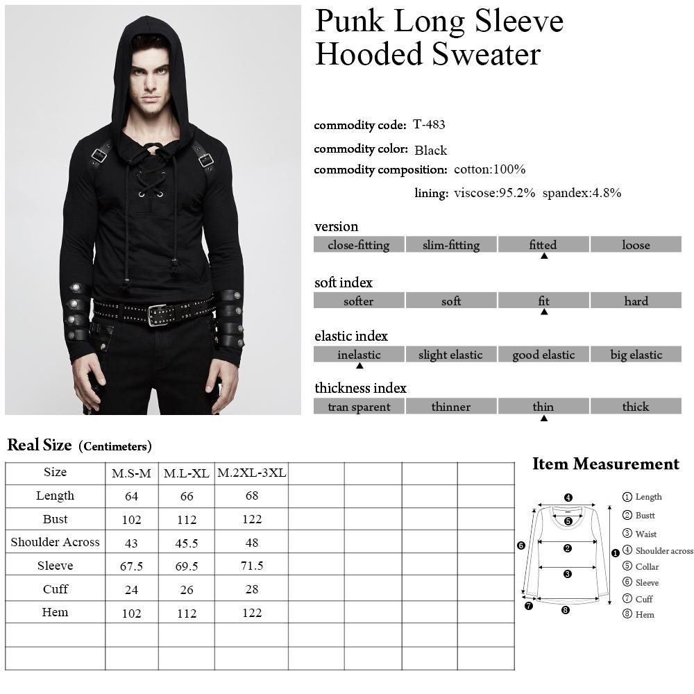 T-483 Punk pullover slim fit hoodies heavy metal men sweatshirt