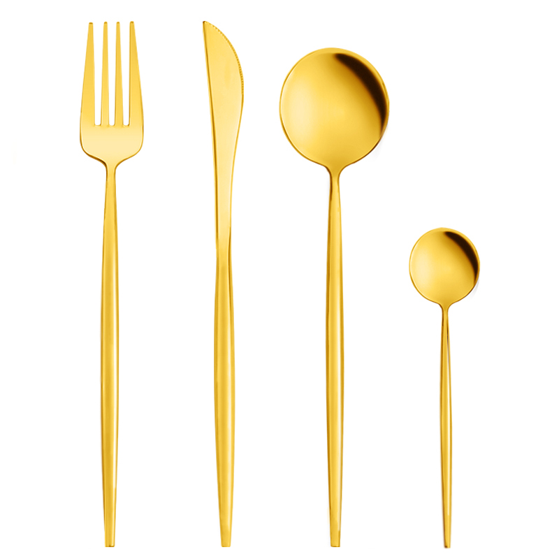 4pcs gold cutlery brass flatware set