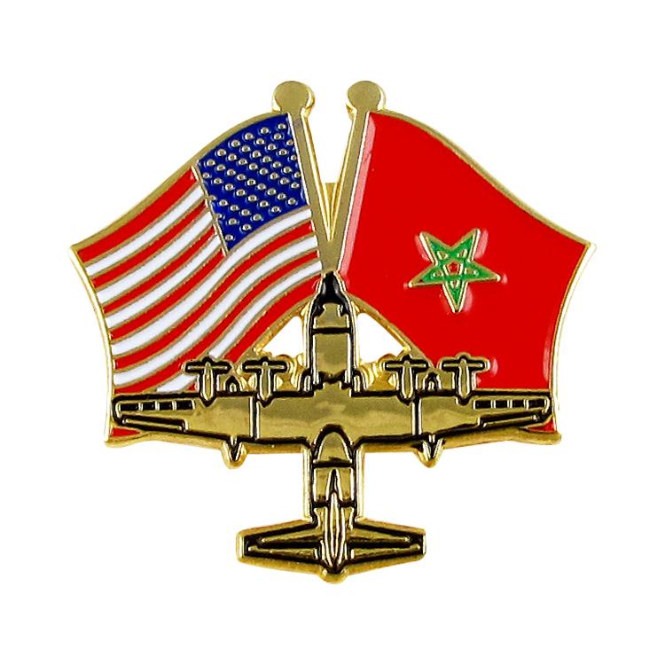 Barato al por mayor de encargo de la bandera del país aviones Pin de solapa de Metal