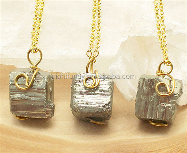 Pyrite Necklace,Gold Pyrite Necklace, Pyrite Nugget Gold Necklace