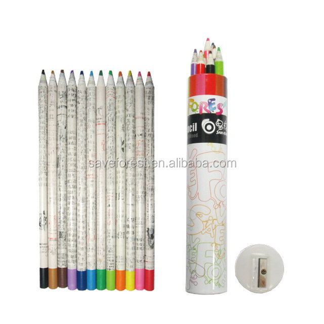3.0mm Paper Pencil Color Pencils In Paper Tube Color,Newspaper ...