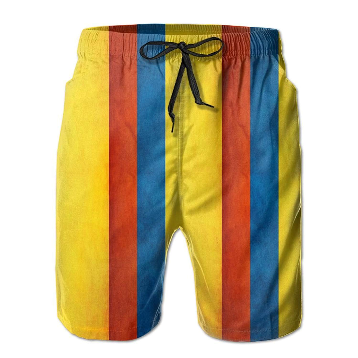 53e39550ea Get Quotations · Alin-Z Colombia Banner Stripe Men's Quick Dry Swim Trunks  Beach Surfing Shorts