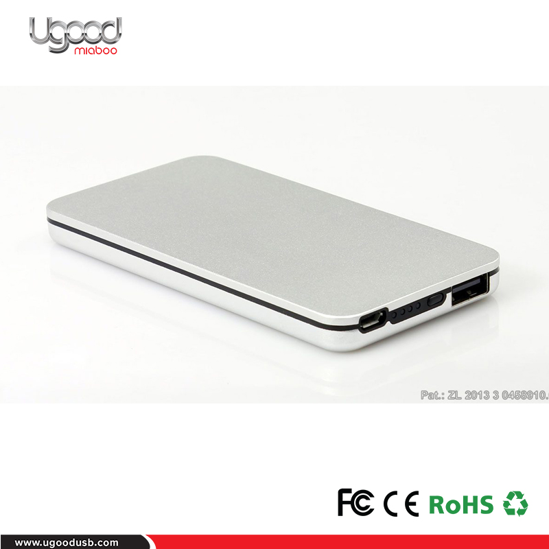 Classic straight power bank 4000mah 5200mah,Metallic power bank aluminium slim design mobile phone charger 1A input