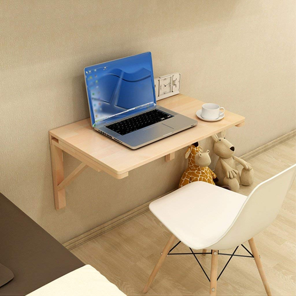 Mmdp Foldable Study Desk Wall-mounted Solid Wood Dining Table Side Table Wall Hanging Computer Desk Size Optional (Size : 10050cm)
