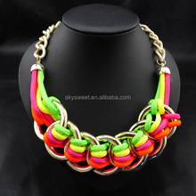 Fabric covered colorful chunky necklace bold necklace jewelry(PR1608)