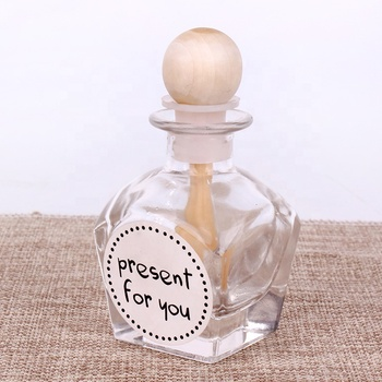 Square 50ml aroma diffuser glass bottle and decorative ball for home aroma use