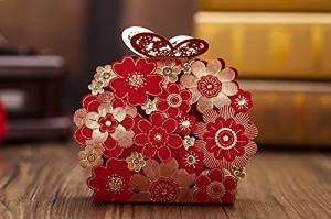 Zorpia Laser Cut Whole 50 X Wedding Candy Box Red Favor