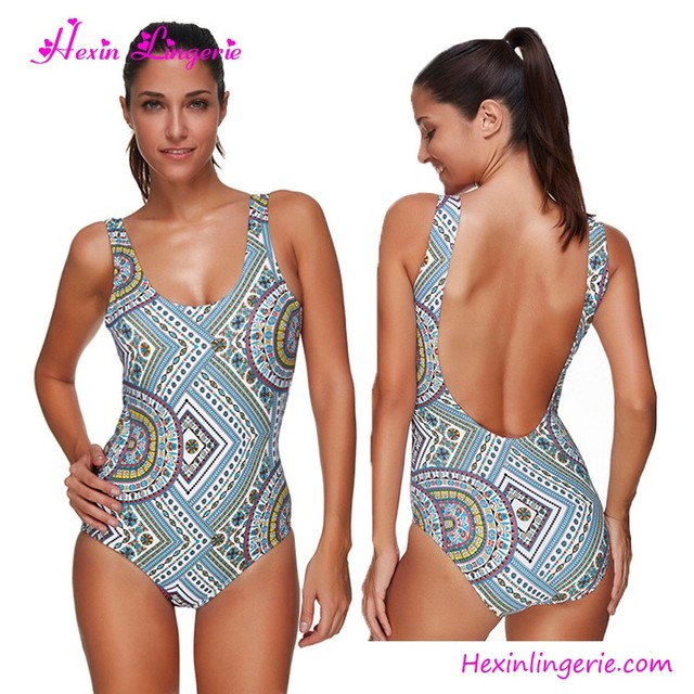 6e847dd2a88 Usa Warehouse Delivery Printed Mature One Piece Girl Muslim Swimsuit ...