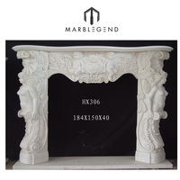 2016 PFM beautiful hand carved marble cherubs yellow fireplace mantel