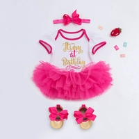 Baby Girl Dresses Summer First 1st Birthday Cake Smash Outfits Clothes 4pc Sets Romper Tutu Skirt Headband Toddler Dresses Girls