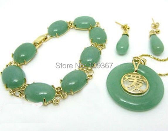 Buy real natural jewelry green jade set pendentif de jade bracelet buy real natural jewelry green jade set pendentif de jade bracelet netsuke pendant earring 14k gold plated silver hook shipping free in cheap price on aloadofball Gallery