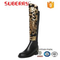 SUBERRY Woman Shoes Winter 2017 Knee High Boots Size 10 Glitter Women Shoes Flat Long Boots Botas altas por encima de la rodilla