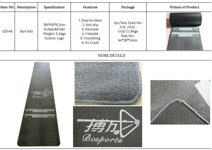 High quality durable Fiber Rubber dart mat with throw line