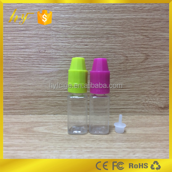 unique design 10ml PET square clear bottle with childproof and tamper resistant customized cap color cap