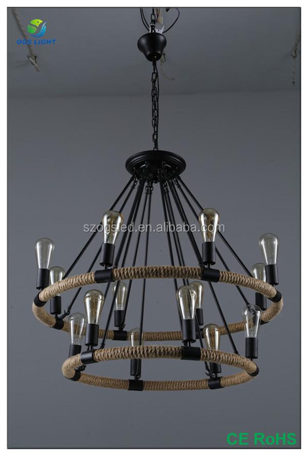 Vintage große 14 stücke lichtquellen anhänger lampe/licht hanfseil ...
