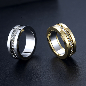ZJ108 Stainless Steel Couple Ring Jewelry Women, Fashion Gold Plated Rings With Diamonds, Engagement Wedding Rings for Men