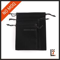 YIWU small black velvet jewelry drawstring bag with logo