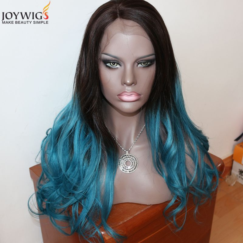 Free shipping top grade 150% hair density Blue ombre Brazilian human hair Lace front wig