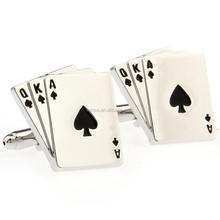Stainless Steel Men's Wedding Poker Card Design Silver Color Shirt Suit Cufflinks