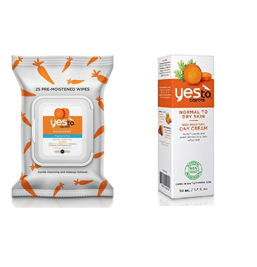 Yes To Carrots Fragrance-Free Gentle Cleansing Wipes, 25 Count + Yes To Carrots Normal To Dry Skin, Rich Moisture Day Cream, 1.7 Oz