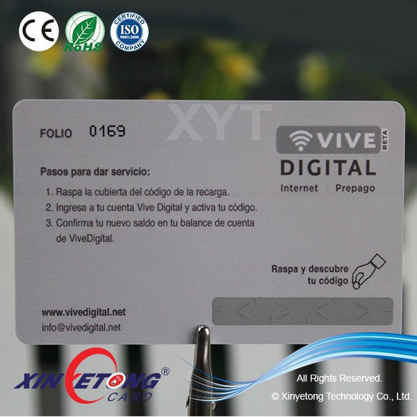 Competitive Pvc Pin Scratch Card Recharge Cards,With Poly Bag ...