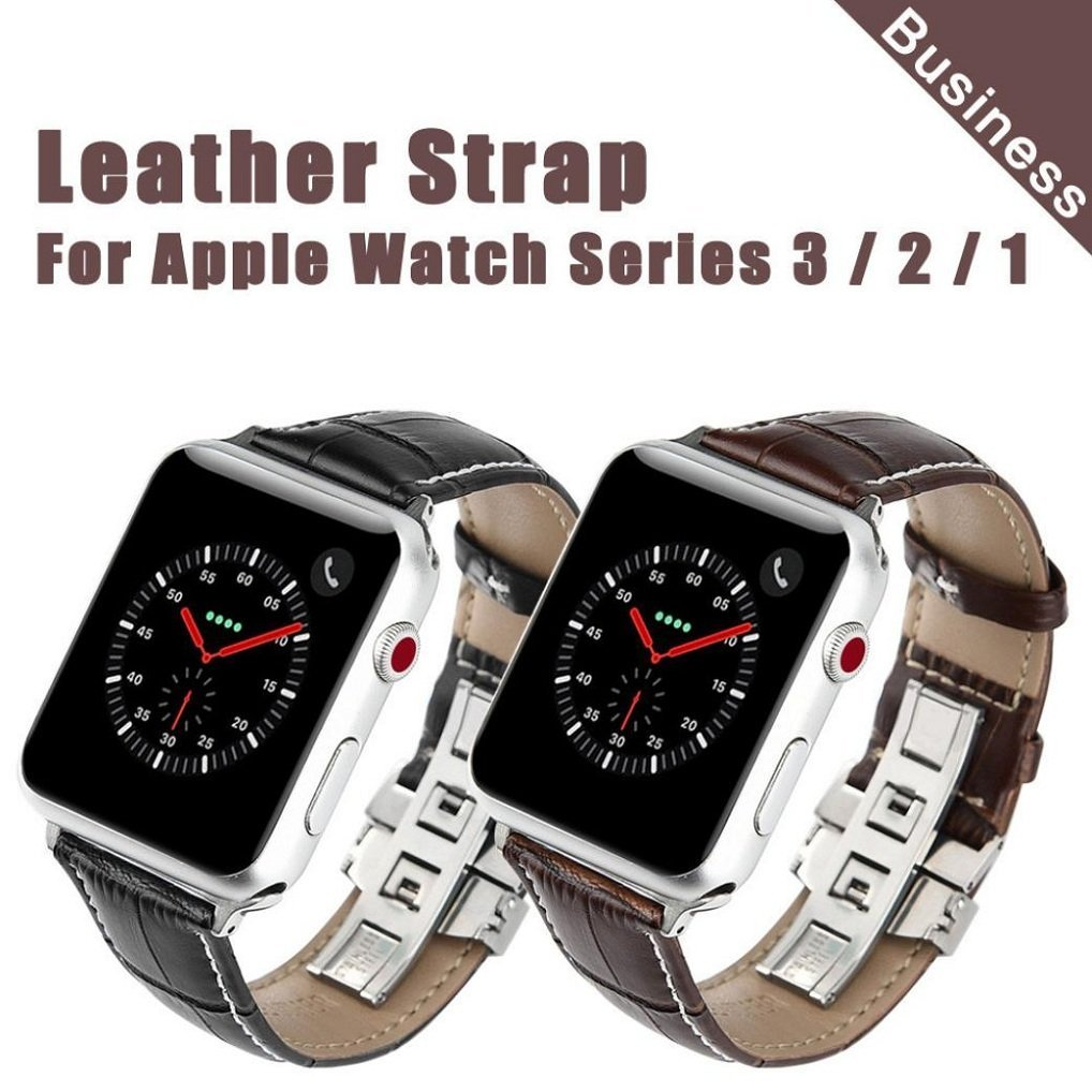 Appoi For Apple Watch Series 3/2/1 38mm Watch Strap Bands, Retro Texture Butterfly Buckle Black Leather Wristbands For Apple Watch Series 3/2/1 38mm
