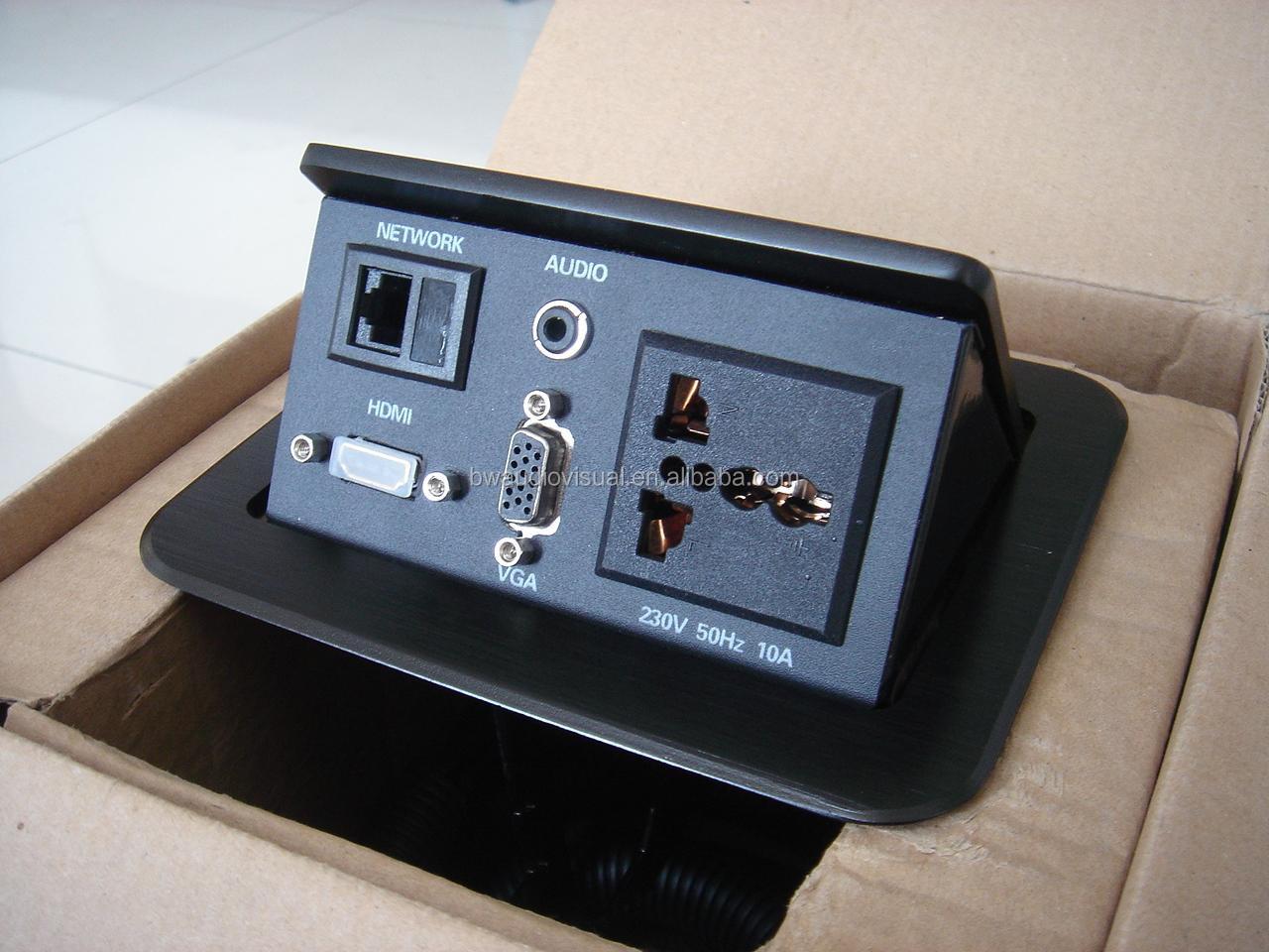 Multimedia Pop Up Socket Outlet For Data And Aluminum Tabletop Desk Box