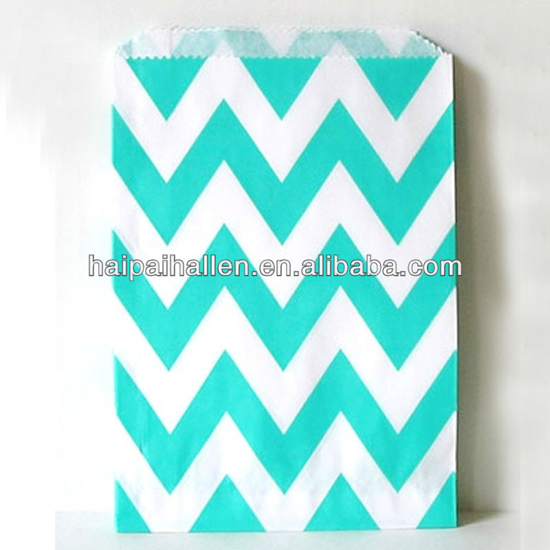 Chevron Aqua and white Middy Bitty Treat Favor bags for wedding