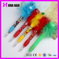 Novelty lovely feather promotional cartoon character pen plastic pen for children