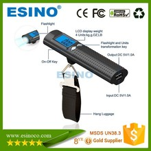 New product 3 in 1 Power Bank With High Accuracy Weight Sensor Digital Luggage Electronic Scale And LED Light Function