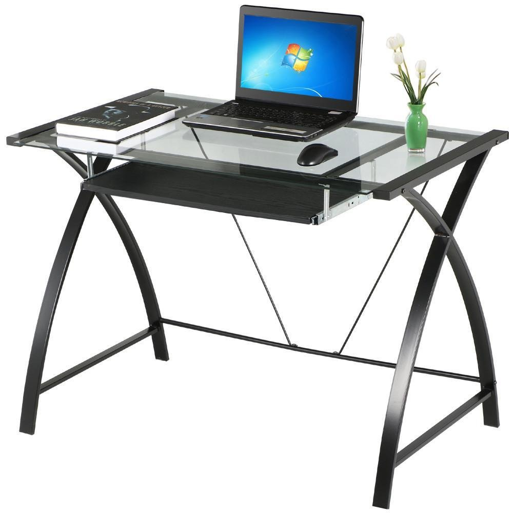 Buy Go2buy Tempered Glass Table Top Computer Desk Black Metal