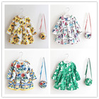 Cute Girl Dresses With Handbag 2017 New Kids Flowers Dress Fashion Baby Girl Party Dresses Childrens Belle Clothes Kids Clothing