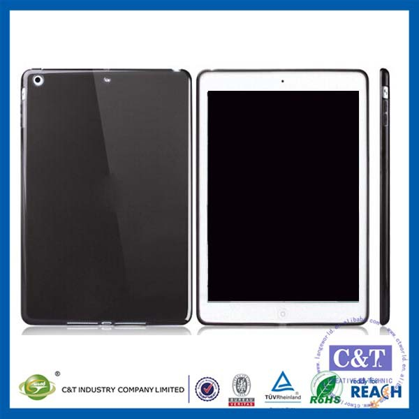 C&T Customized Black tpu glossy transparent thin gel case for ipad pro
