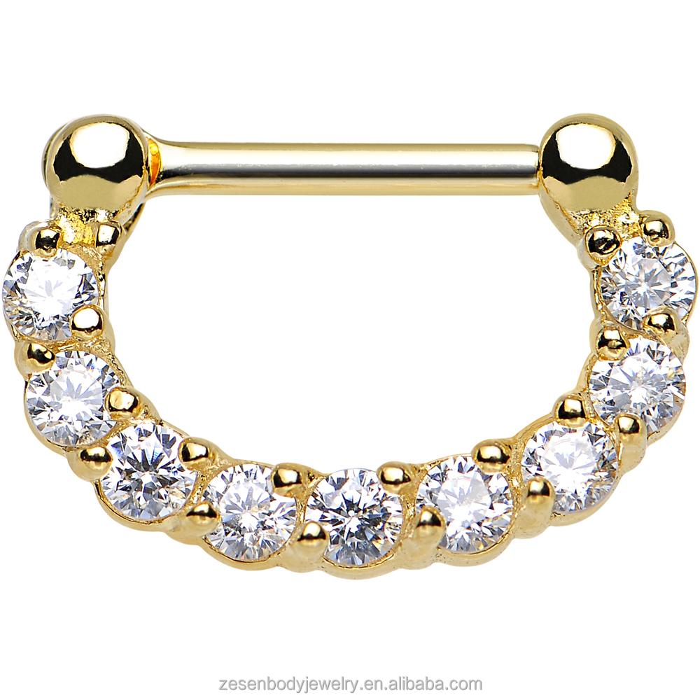 Sexy gold anodized titanium nipple shield nipple for Pierced nipple stretching jewelry
