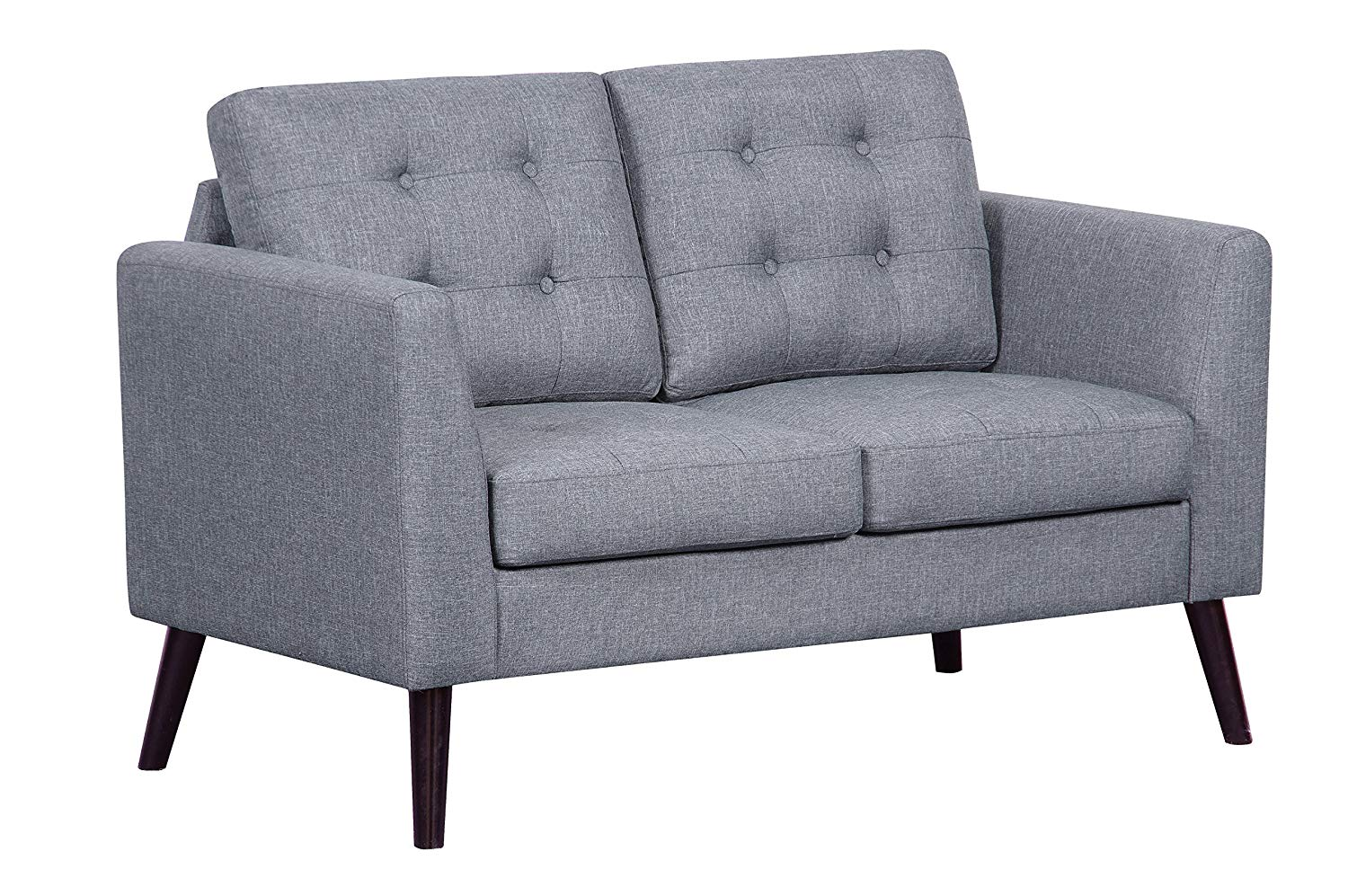Container Furniture Direct S5293-L Mysterious Flower Linen Upholstered Mid-Century Modern Loveseat, Light Grey