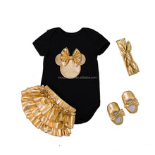 Newborn 2017 Infant Black Baby Clothing Sets Cotton Baby Girl Short Sleeves Bodysuit+Gold Ruffles Bloomers+Headband+baby shoes