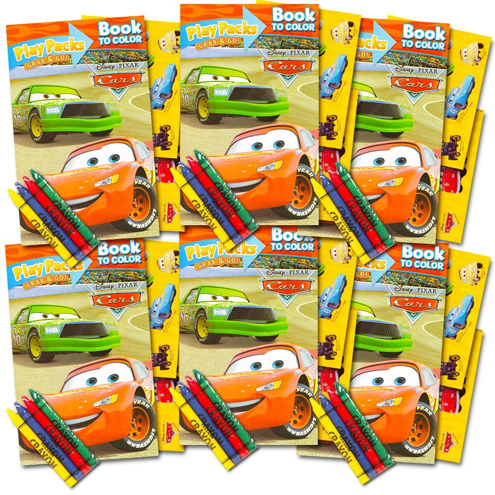 Disney Cars Ultimate Party Favors Packs -- 6 Sets with Stickers, Coloring Books and Crayons (Party Supplies)