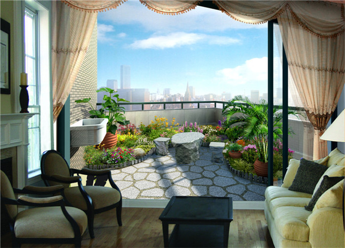 3d balcony lively natural garden scenery wallpapers for for Balcony view wallpaper