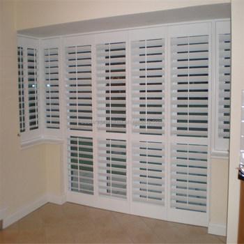 63mm Adjustable Louver Unique Interior Horizontal Bi Fold And Sliding Wooden Plantation Door
