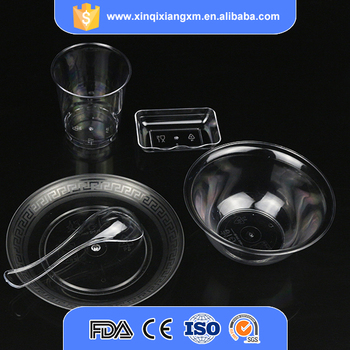 Wholesale Dinnerware Clear Hard Plastic Tableware Plates Disposable ...